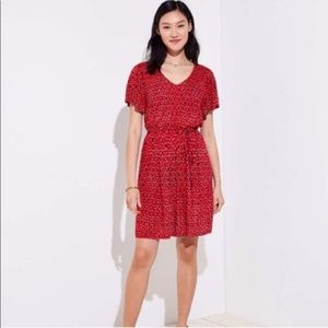 Loft ikat tie west flare dress in red